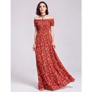 Ever-PrettyAlisa Pan Printed Off Shoulder Summer Maxi Dress
