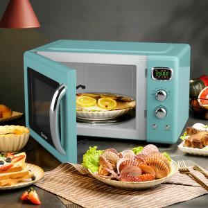 免邮 $99.16(原价$139.99)Daewoo 高颜值复古造型微波炉 电子数控小仙女厨房帮手