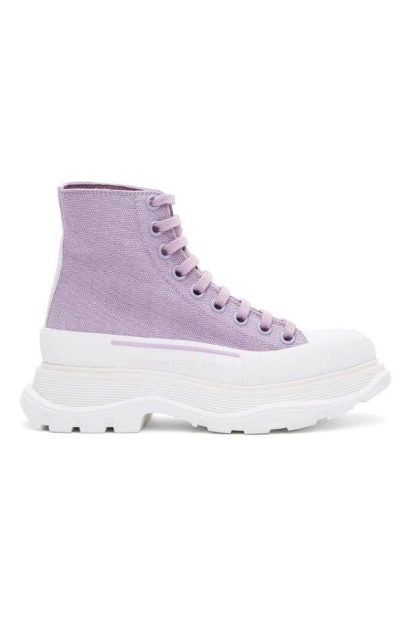 特别款 香芋紫帆布厚底鞋