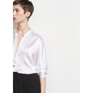 Band Collar Silk Blouse