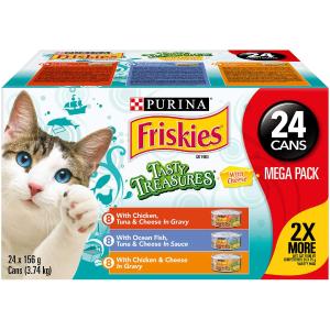 $22.7(原价$24.1) 富含芝士大罐装Purina Friskies 美味宝藏系列猫罐头 3种口味 24罐