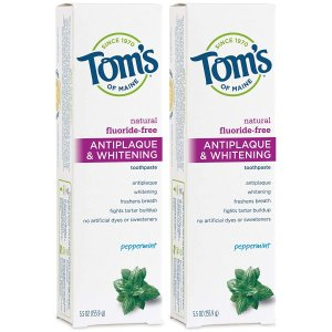 $7.56Tom's of Maine Antiplaque and Whitening Fluoride-Free Toothpaste, Pack of 2