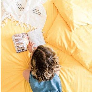 1.5折起折扣升级:时尚床品限时特价 $39.95收封面床单枕套套装