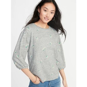 GapRelaxed Balloon-Sleeve French-Terry Top for Women