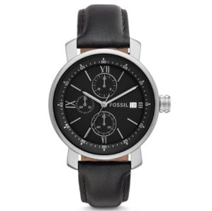 $34Fossil Rhett Chronograph Black Leather Men's Watch