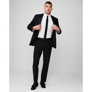 Express$100 Off suitClassic Black Performance Stretch Wool-blend Tuxedo Pant