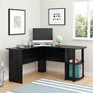 $74.25 (原价$139.99)Ameriwood Home L型带书架办公桌