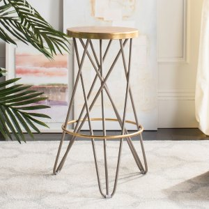 HouzzLorna Gold Leaf Barstool - Midcentury - Bar Stools And Counter Stools - by Safavieh