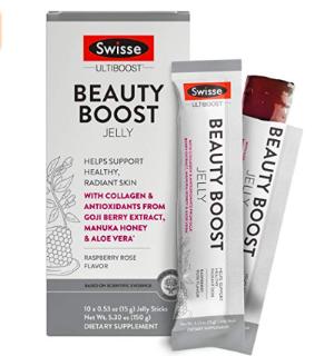 Swisse Ultiboost Beauty Boost Jelly Sticks, Raspberry Rose   Healthy Skin Care Supplement   Marine Collagen, Antioxidants from Goji Berry, Manuka Honey, Aloe Vera   Portable Jelly Sticks   10 Count