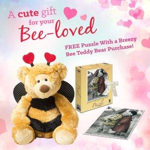 送拼图情人节毛绒小熊礼品套装 呆萌小熊变身小蜜蜂播撒甜蜜