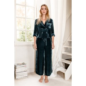 Silk-Velvet Pajama Set-BLUE CORAL