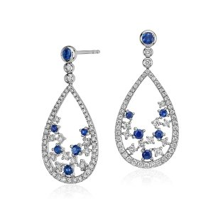 Blue NileSomething Blue, Sapphire and Diamond Floral Teardrop Earring in 18k White Gold | Blue Nile
