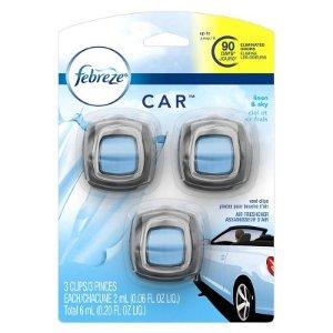 Febreze Linen & Sky Car Air Freshener Vent Clips - 3ct/0.06 Fl Oz : Target