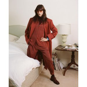 Paul SmithWomen's Rust Wool-Blend Double-Breasted Coat With White Stitching