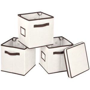 $8MaidMAX Set of 3 Stackable Storage Cubes Fabric Containers Organizers Drawers with 1 Top Lid
