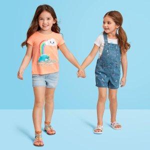$0.99起+包邮 居家服$5.98/套上新:Children's Place童装官网 2-4折清仓,骑行裤2条$3.99