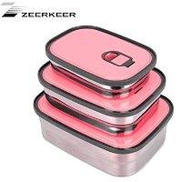 ZEERKEER 午餐盒/保鲜盒 粉色三件套