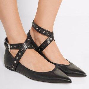 华伦天奴尖头平底鞋$339.99Valentino 孤码7.5黑色绑带平底鞋热卖