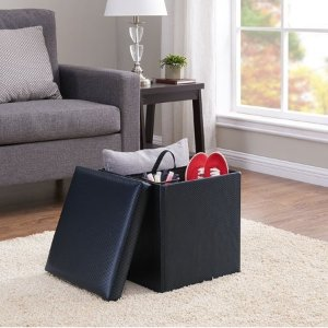 MAINSTAYSCollapsible Storage Ottoman, Carbon Black