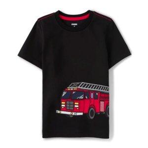 Gymboree100% 棉针织消防车T恤