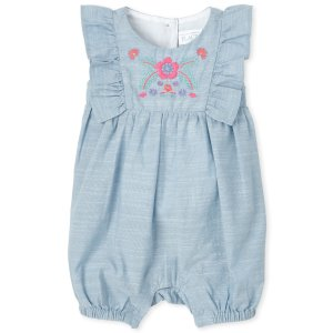 The Children's PlaceBaby Girls Short Sleeve Embroidered Floral Chambray Ruffle Romper