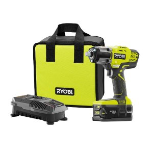 $129Ryobi 18-Volt ONE+ Lithium-Ion Cordless 3-Speed 1/2 in. Impact Wrench Kit with (1) 4.0 Ah Battery, 18-Volt Charger, and Bag