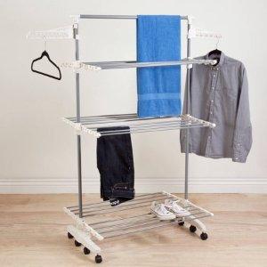 $25.39(原价$40.49)Everyday Home 不锈钢滑轮多层晾衣架