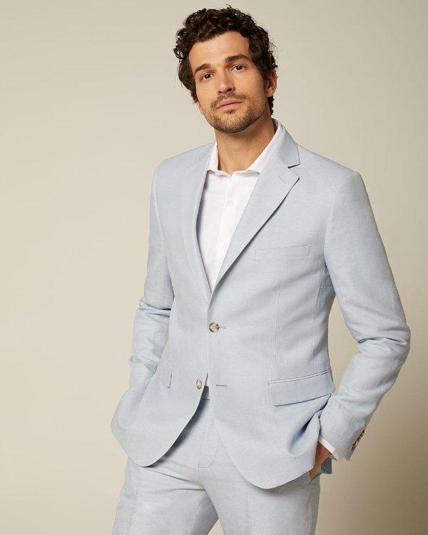 男款淡蓝修身西装