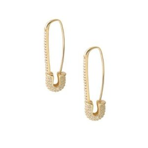 Gabi Rielle22K Yellow Goldplated Pave Safety Pin Earrings