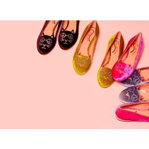 Peaceful Kitty in Neon & Gold - Flats | Charlotte Olympia