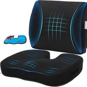 Niceeday 记忆海绵坐垫和腰枕套装 送冰凉凝胶坐垫