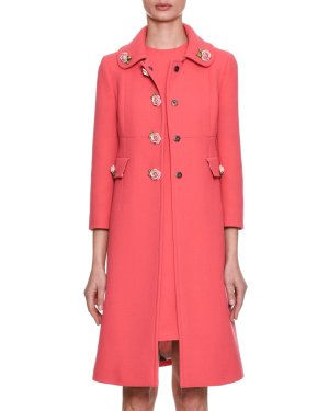 Dolce & Gabbana Single-Breasted Crepe Wool Coat w/ Rose Appliques | Neiman Marcus