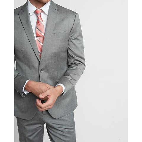 Classic Gray Wool Blend Oxford Suit Jacket