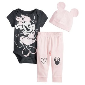 b64f07903 DisneyMinnie Mouse Baby Girl Bodysuit, Pants & Hat Set by Jumping Beans®