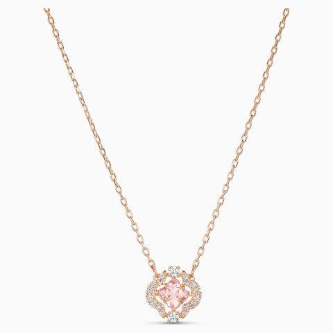 Sparkling Dance Clover Necklace, Pink, Rose-gold tone plated by