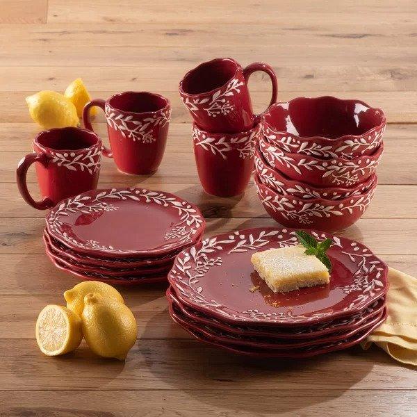 红色印花餐具 16件套