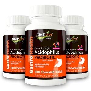 GMP Vitas每瓶仅$12.73多功能益生菌嚼片 100粒 3瓶
