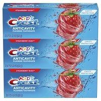 Crest 儿童含氟牙膏,草莓味,3支