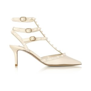 ValentinoRockstud Ivory Leather Ankle Strap Pumps