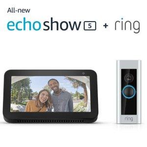 $298.99 (原价$398.99)Ring Pro 可视智能门铃+ Echo Show 5超值套装