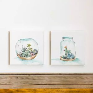 New!Botanicals in Bottles Canvas Art Prints, Set of 2
