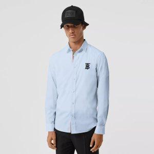 BurberryEmbroidered Motifs Stretch Cotton Poplin Shirt