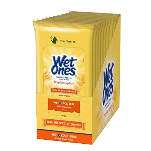 Wet Ones Antibacterial Hand Wipes, Tropical Splash Scent, 20 Count (Pack of 10)