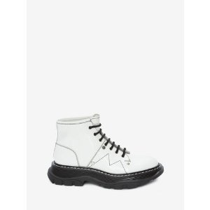 Women's White/Black Tread Lace Up Boot   Alexander McQueen