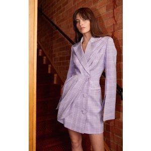 香芋紫格纹西装