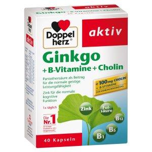 Doppelherz银杏叶精华胶囊 40粒 Ginkgo + B vitamins + choline
