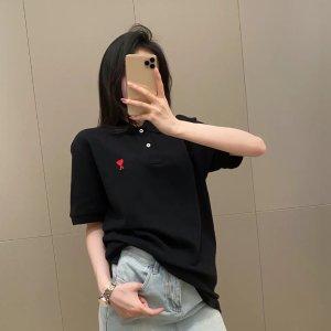 AmiXS-XL码!男女都可穿黑色爱心polo衫