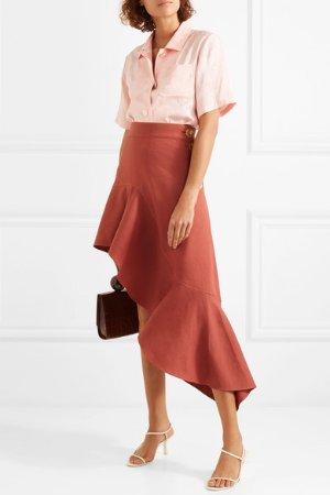 REJINA PYO   Ella asymmetric ruffled linen-blend skirt   NET-A-PORTER.COM