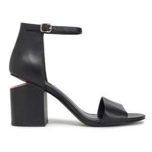 $285 相当于6折Alexander Wang  黑色断跟一字带凉鞋