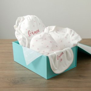My 1st YearsPersonalized Floral Print Organic Baby Gift Set